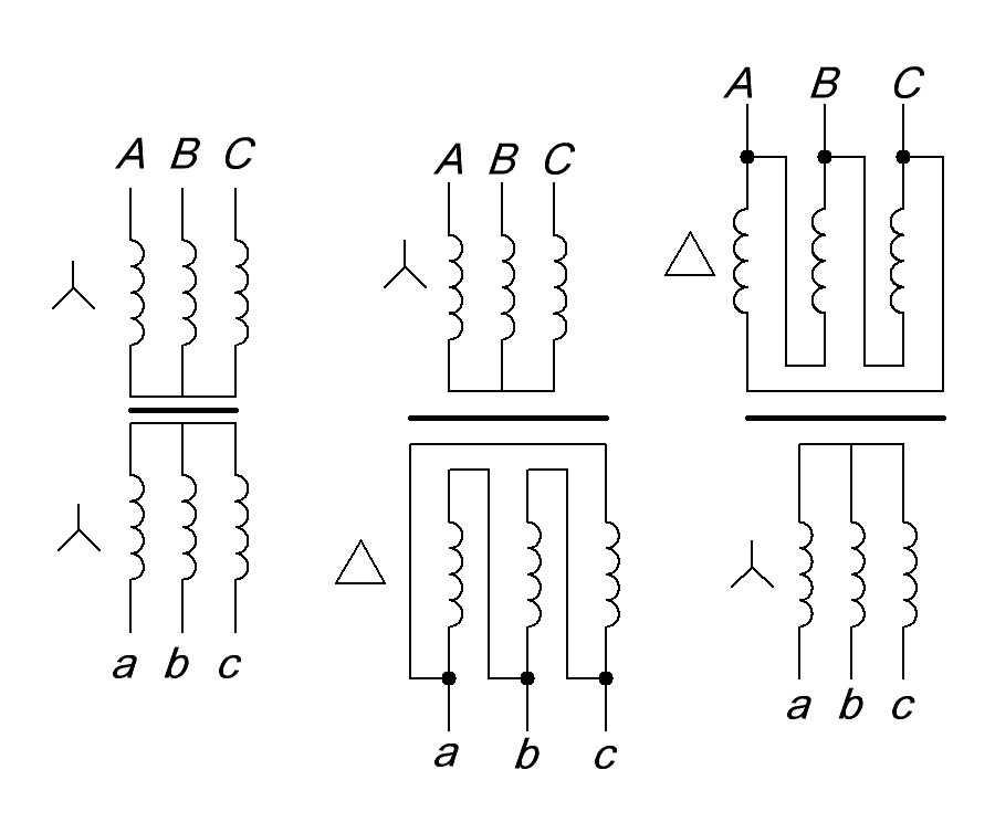 виды соединений обмоток трехфазного трансформатора