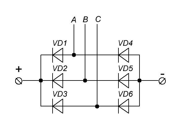 трехфазный диодный мост схема