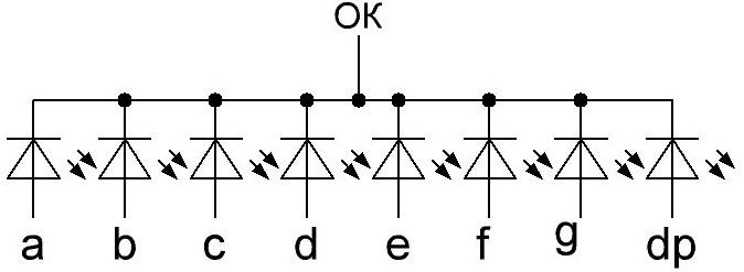 семисегментный индикатор с общим катодом