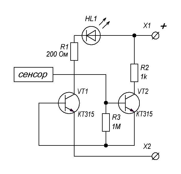 сенсорный выключатель схема