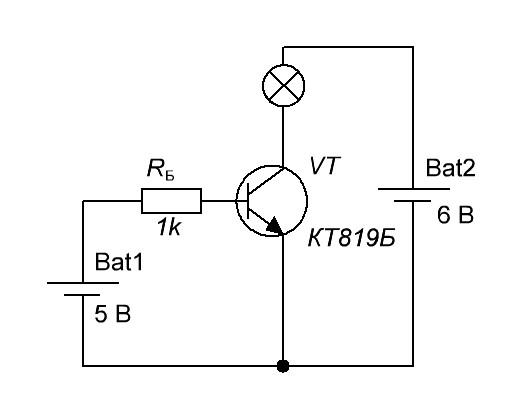 Транзистор как ключ схема