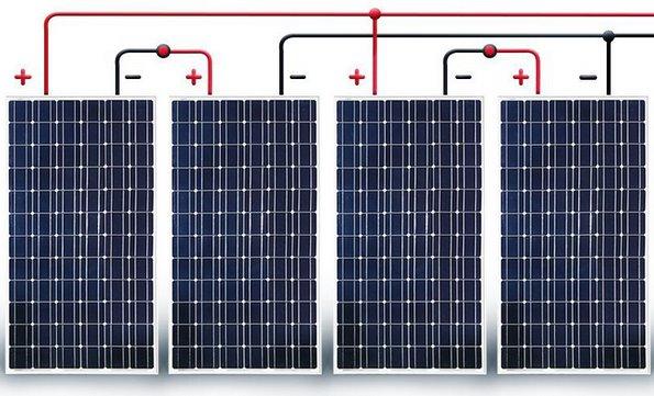 последовательно-параллельное соединение солнечных панелей