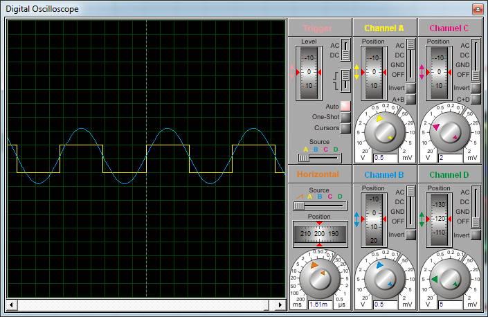 суммирование сигналов в виртуальном осциллографе