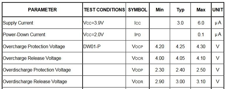 параметры схемы защиты для литий-полимерного аккумулятора
