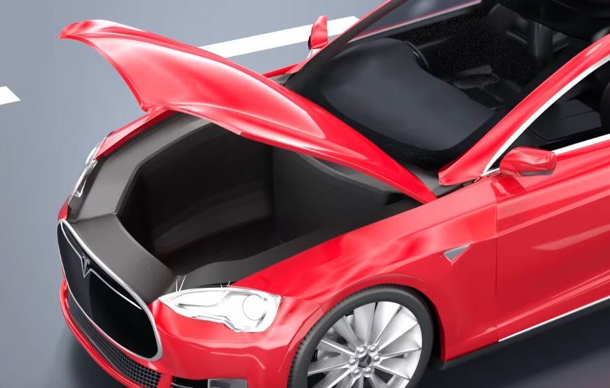 передний багажник автомобиля тесла