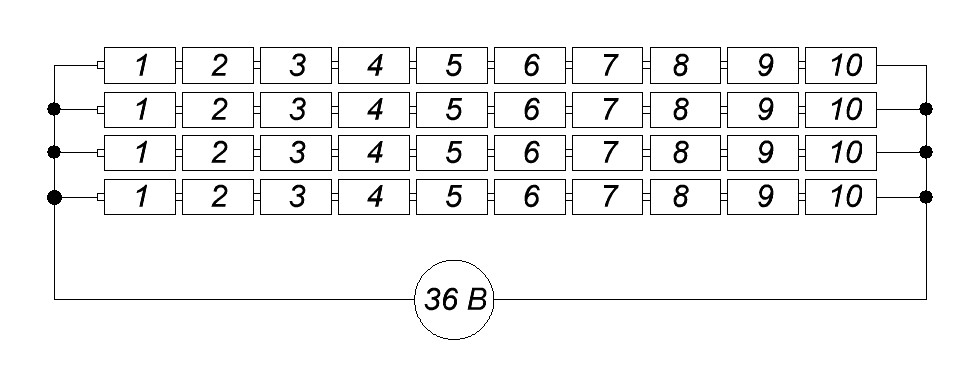 последовательно-параллельное соединение аккумуляторов литий ион