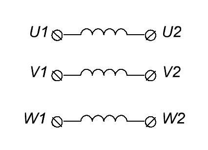 обмотки U V W