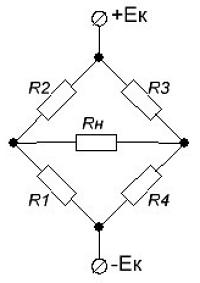 Схема моста с идентичными рычагами плечами