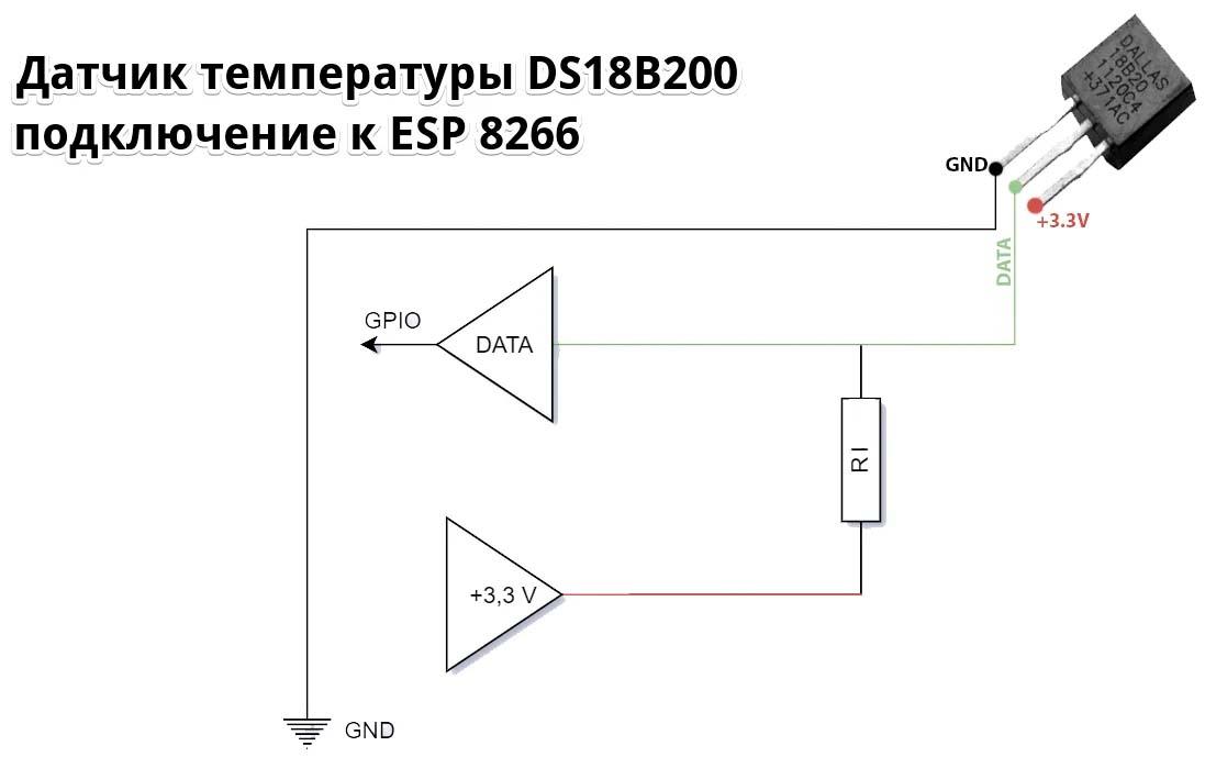 Подключение датчика DS18B20 к esp8266