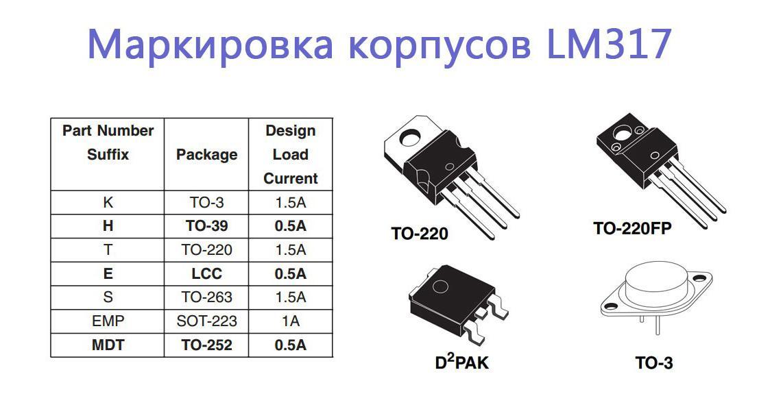 Маркировка корпусов lm317