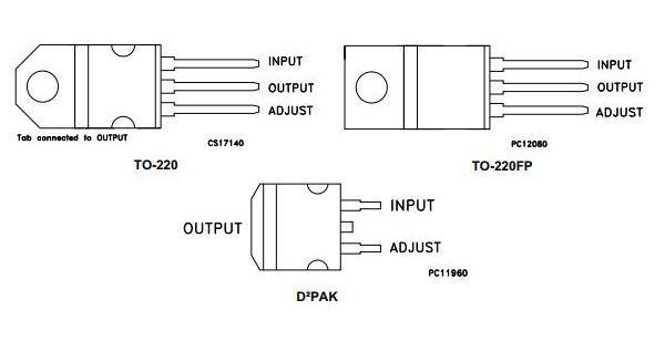 Конфигурация выводов lm317