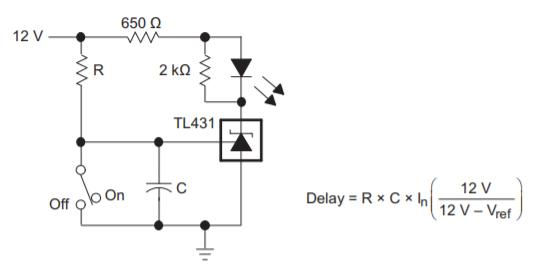 Схема таймера задержки на TL431