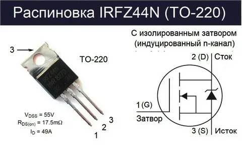 Распиновка irfz44n